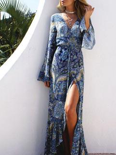 Sexy V Neck Print Floral Bohemian Maxi Dresses