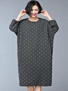 Autumn Dot 3/4 Sleeve Long Women's Dresses