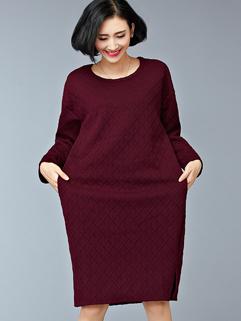 Wholesale Plaid Pattern Long Sleeve Slit Long Dresses