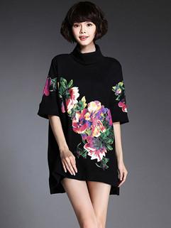 Vintage Style High Neck Floral Prints Oversize Dresses