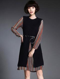 Korean Striped Long Sleeve Fashion Two Pieces Dresses