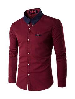 Chic Color Block Turndown Collar Men Business Shirt