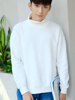 Korean High Neck Slit Men Pullover Hoodies