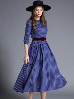 Euro Fashion Striped 3/4 Sleeve A Line Dress