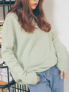 Online Buy Long Sleeve Light Green Pullover Sweater