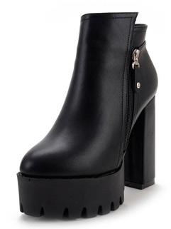 Euro Fashion Round Toe Zipper Women Boots Shoes
