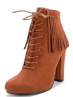 Korean Tassel Round Toe Women Ankle Boots Shoes