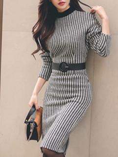 Fashion Stand Collar Striped Bodycon Dresses