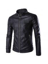 Motorcycle Style Zipper Black Leather Jackets