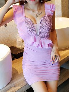 Sexy V Neck Beading Wrap Party Dresses