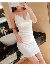 Outlet Sexy Backless V Neck Short Dresses