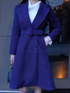 Blue Wool Bandage Cardigan Coat
