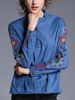 Blue Embroidery Long Sleeve Denim Shirt