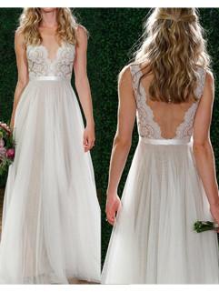 Deep V Neck Backless Bridesmaid Dress