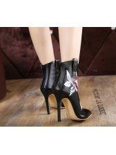 Floral High Heel Women Boots