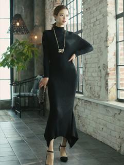 Korean High Neck Asymmetric Hem Dresses