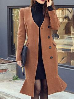 Long Fishtail Wool Coat Cardigan