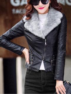 Turndown Collar Fitting Leather Coat