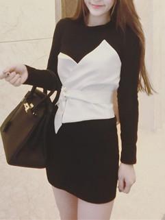 Contrast Color Long Sleeve Pencil Dress