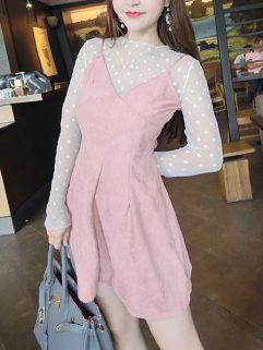 Semi Sheer Dots Suede Suspender Dress