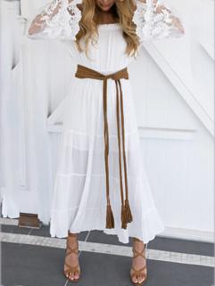 Off Shoulder Lace Panel White Dress