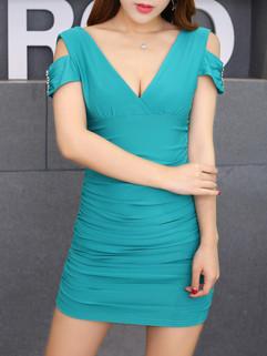 Deep V Neck Shirred Design Bodycon Dress