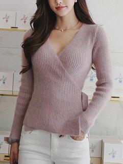V Neck Bandage Mink Sweater Pullover