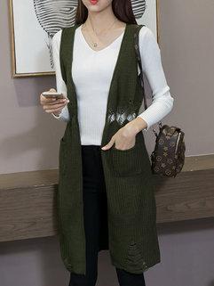 All Matching Sleeveless Knitting Waistcoat