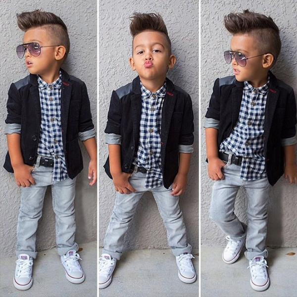 Fashion Plaid Boys 3 Piece Outfits