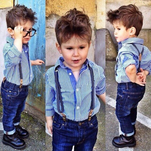 Stripe Shirts With Denim Jeans Boys Suits
