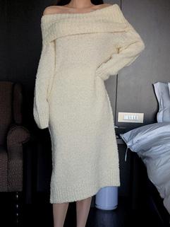 White Oversize Knitting Dress Pullover