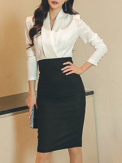Korean OL Contrast Color Pencil Dress