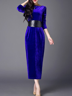 Empire Waist Belted Party Long Dress