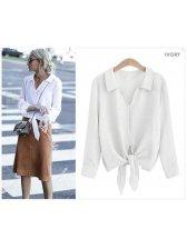 Solid Tie-wrap Cotton Woman Blouse
