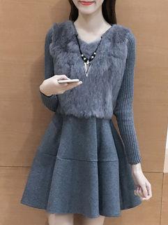 Korean O Neck A Line Nice Dresses