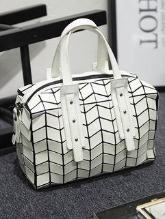 Outlet Geometric Rhombus Zipper Handle Bag