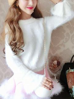 Korean O Neck Women Cute Sweater