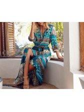 Hot Sale V Neck Prints Vintage Dress