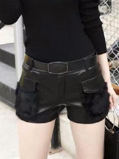 PU Patchwork Short Woman Pants