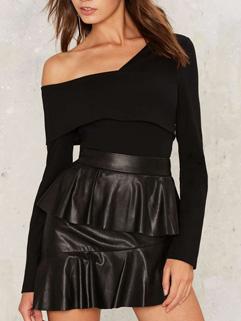 Black Ruffle Off The Shoulder Bodysuit