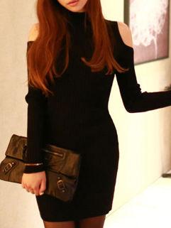 Korean Cut Out Shoulder Knitted Pencil Dress