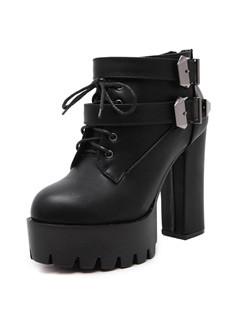 Popular Round Toe Footwear Black Boots