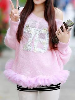 V Neck Loose Women Pink Sweater