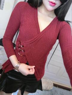 V Neck Bandage Women Sweater Tops
