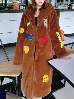 Korean Applique Women Long Coat Outerwear