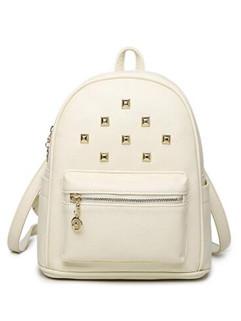 Preppy Style Rivet Zipper Backpacks