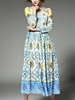 Fashion O Neck Flower Pattern Long Dresses