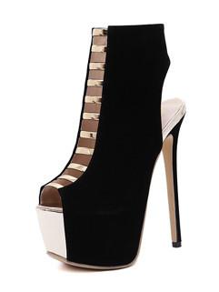Peeptoes High Heel Boots Fashion Shoes
