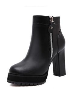 Round Toe Women High Heel Boots