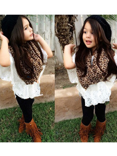 Vest+Lace Shirts+Leggings Kids Suits